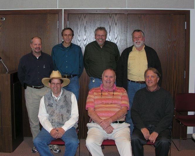 Illinois Natural Inventory alumni. J Bacone, Jack White, Randy Nyboer, Don Kurz. F Fran Harty, John (Doc) Ebinger, Jerry Paulson. Taken at INAI update.
